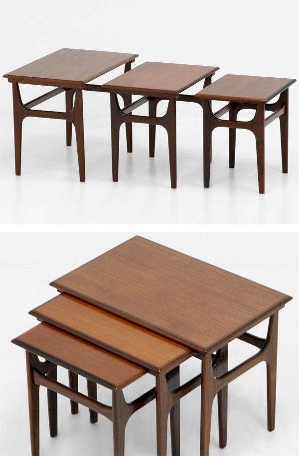 北欧家具,ヴィンテージ,ネストテーブル,チーク材,サイドテーブル,デンマーク