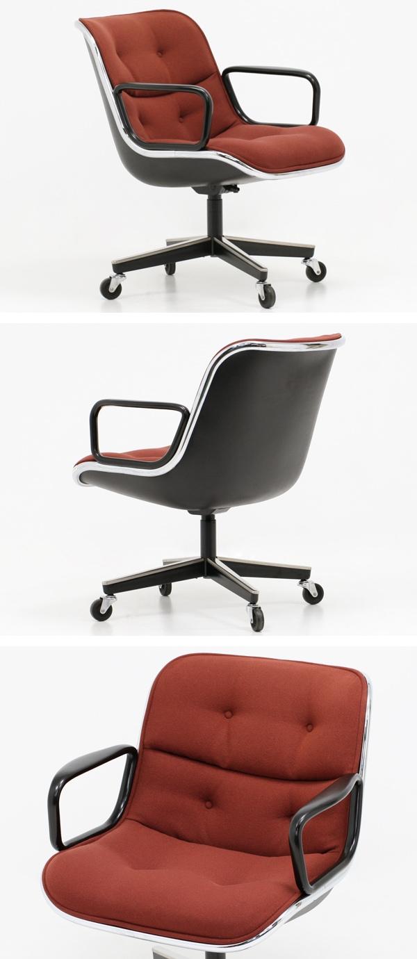 ノール,ポロックチェア,ファブリック,赤,布張り,中古,椅子,ミッドセンチュリー,役員椅子