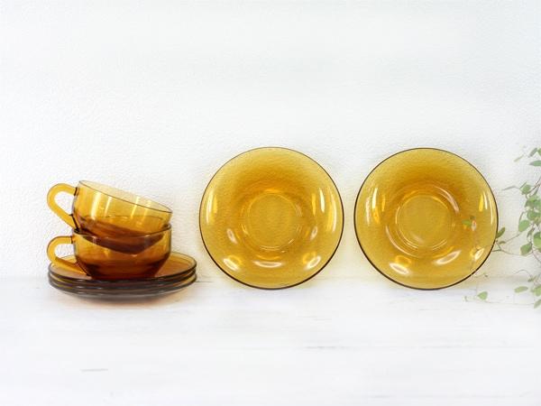 オールドアデリア,カップ&ソーサー,アンバーガラス食器,ADERIA