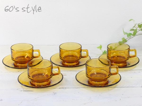 SOGA,カップ&ソーサー,セット,あめ色,ガラス食器