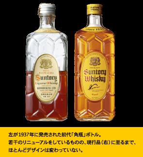 左が1937年に発売された初代「角瓶」ボトル。若干のリニューアルをしているものの、現行品(右)に至るまで、ほとんどデザインは変わっていない。