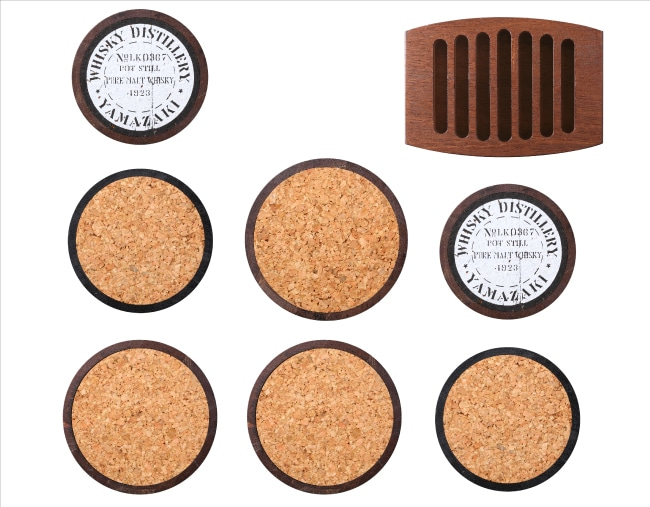 グッズバーオリジナル樽型コルクコースター(7枚セット)