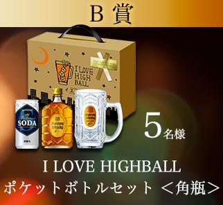 B賞 I LOVE HIGHBALL ポケットボトルセット <角瓶> 5名様