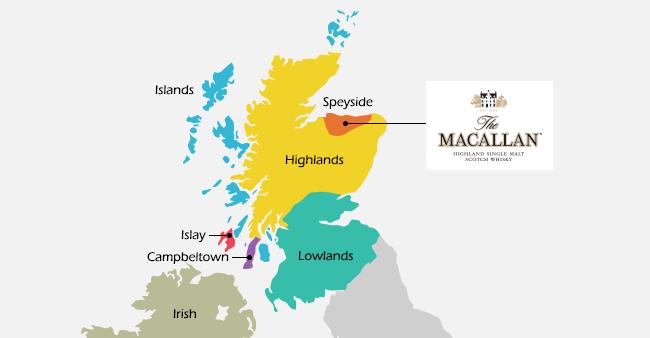 スコットランドのウイスキーの産地の地図