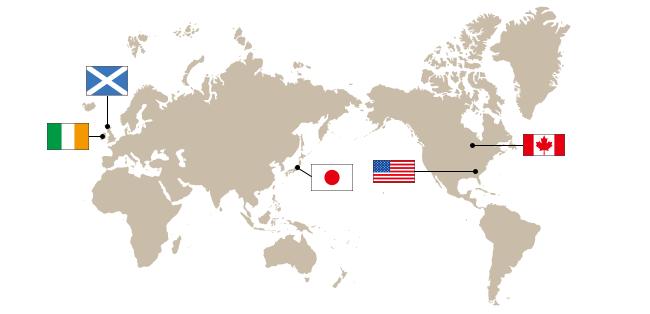 世界の5大ウイスキーの地図