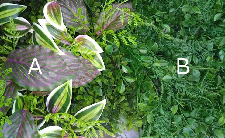 2種類の人工観葉植物のマットを選ぶ