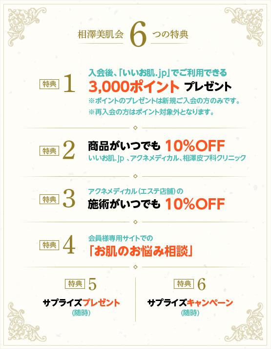 相澤美肌会6つの特典