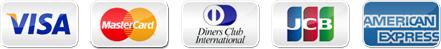 VISA、MasterCard、DinersClub、JCB、AMERICANEXPRESS