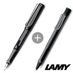 【ラミー】サファリ シャイニーブラック(名入れ万年筆×ボールペン)