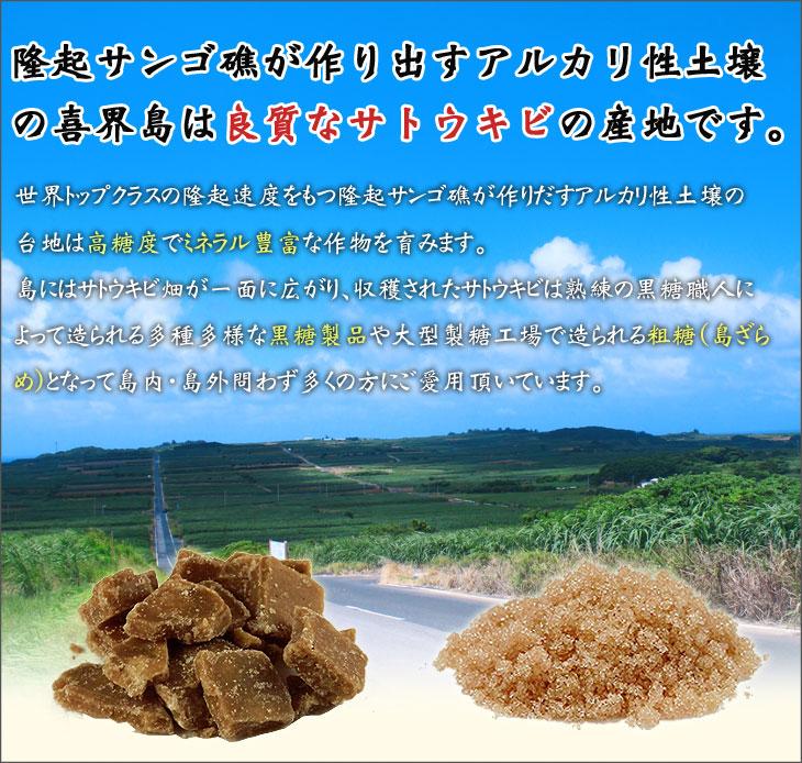 隆起サンゴ礁が作り出すアルカリ性土壌の喜界島は良質なサトウキビの産地です。
