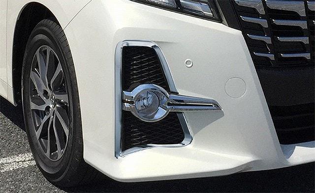アルファード 30系 S/SA/SRシリーズ トヨタ フロント フォグカバー周り ガーニッシュ 左右セット 2P メッキ仕上