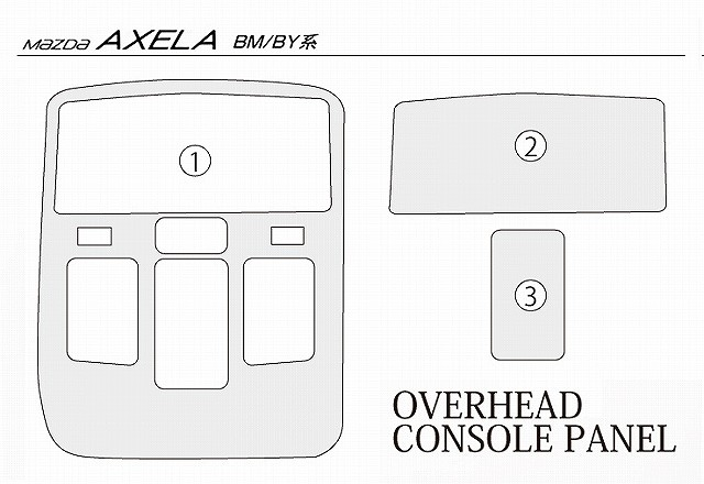 新型 アクセラ スポーツ セダン ハイブリッド BM BY系 マツダ LED ルームランプ & オーバーヘッドコンソールパネル3P ピアノブラック 2点セット