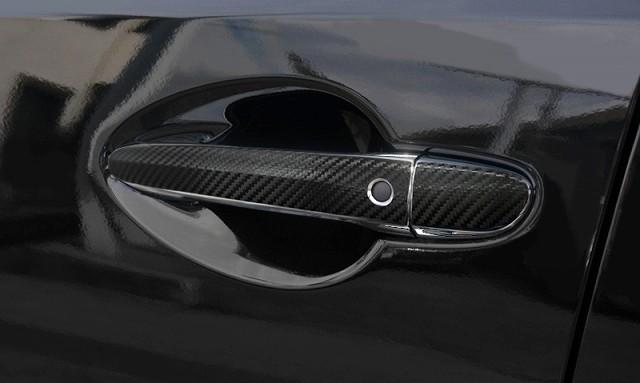 【リニューアル】CX-3 マツダ 専用設計 ドアノブ カバー ブラックカーボン調×メッキ 10P