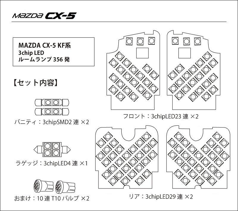 新型 CX-5 KF系 ルームランプ 3chip LED 9点セット 356発 おまけ付