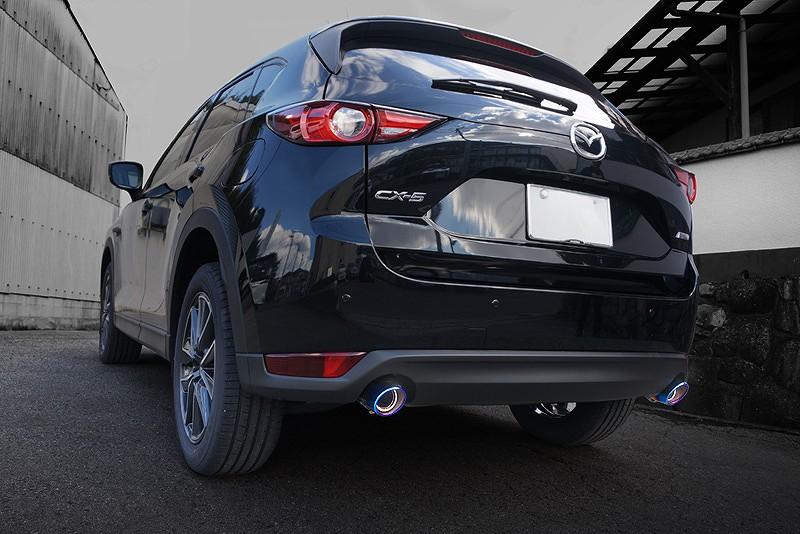 新型 CX-5 KF系 マツダ チタン調 オーバル マフラーカッター スラッシュカット/シングルタイプ 2本セット ステンレス素材