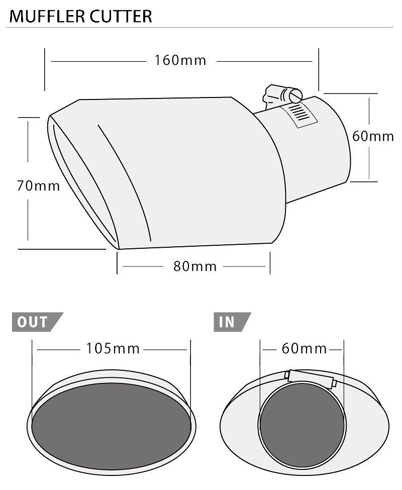 シエンタ 170系 トヨタ オーバル マフラーカッター スラッシュカット/シングルタイプ ステンレス素材 チタンカラー