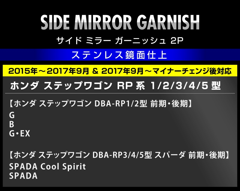 ステップワゴン RP1/2/3/4型 ホンダ サイドミラー ウィンカー周り ガーニッシュ 2P ステンレス鏡面仕上げ