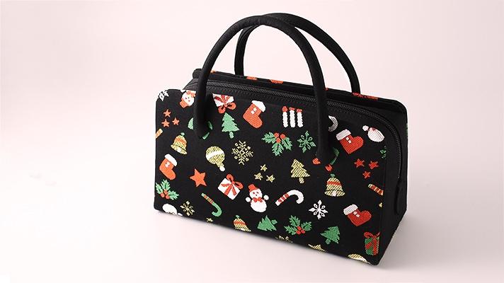 和装バッグ(利休バッグ・着物用ハンドバッグ)葵バッグ「クリスマスの夜」黒地 クリスマス柄刺繍(スノーマンやツリーなど)