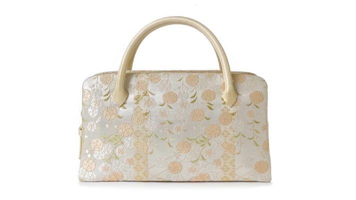 和装バッグ・利休バッグ「しだれ桜」桜柄・桜模様・成人式用