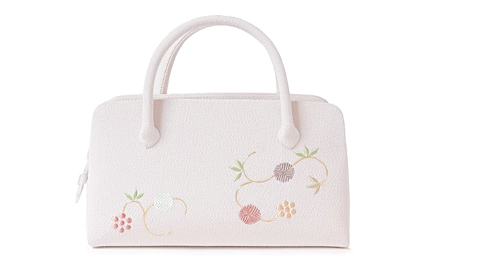 和装バッグ(利休バッグ)葵バッグ「天神唐草」ちりめん地の淡い桜色(薄ピンク色)