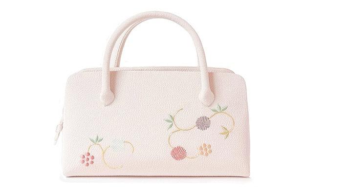 和装バッグ(利休バッグ)葵バッグ「天神唐草」ちりめん地の淡い桜ピンク色