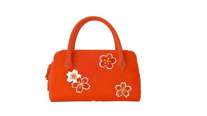 和装バッグ 成人式・七五三・十三参り用 ミニ葵バッグ「刺繍桜梅」 オレンジ色 井澤屋