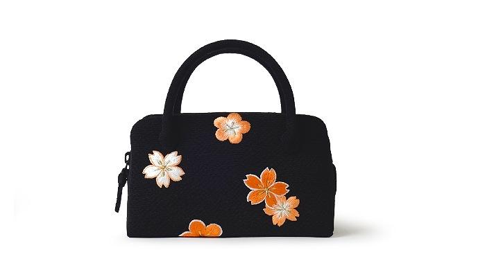 和装バッグ(利休バッグ)成人式・七五三・十三参り用葵バッグ「刺繍桜梅 黒×オレンジ」