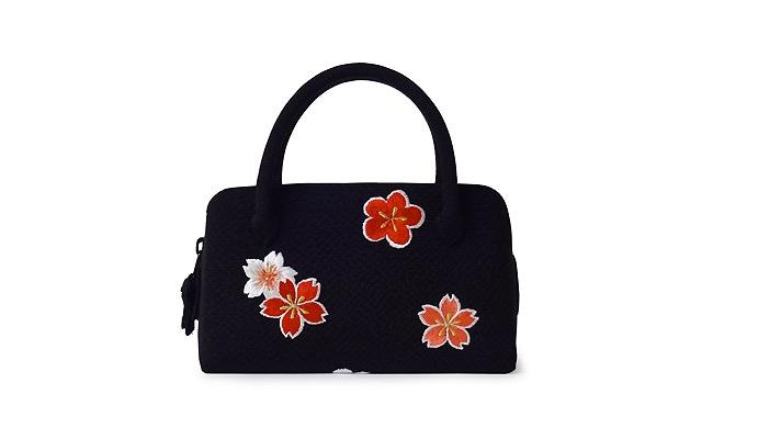 井澤屋 和装バッグ 成人式・七五三・十三参り用 葵バッグ「刺繍桜梅 黒×赤」