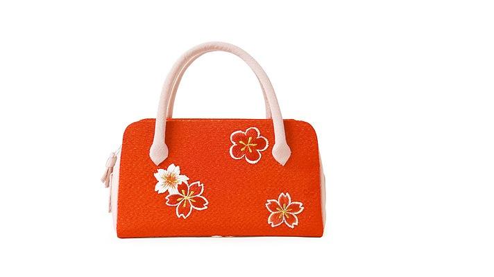 成人式・七五三・十三参り用和装バッグ 「葵バッグ 刺繍桜梅」オレンジ 着物用バッグ 井澤屋