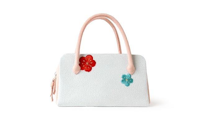和装バッグ(利休バッグ)成人式・七五三・十三参り用葵バッグ「刺繍梅花」