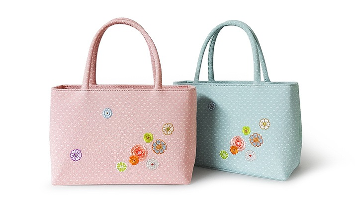雅バッグ「うらら花」 花柄刺繍の着物用・和装用バッグ