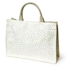 麻素材トートバッグ「ラインストーン」 B. ホワイト