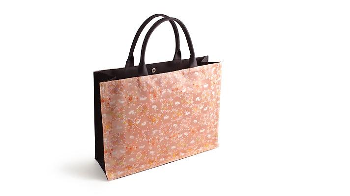 井澤屋 和装用 金襴トートバッグ「うさぎ市松」 サーモンピンク