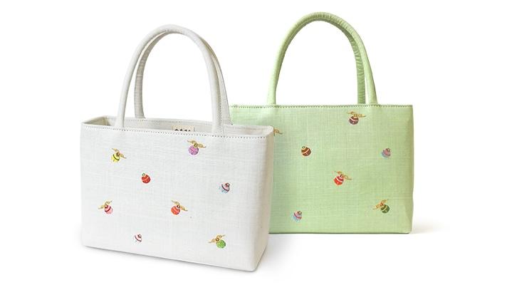 夏向けの雅バッグ(カジュアル和装バッグ)「小鈴柄」麻素材