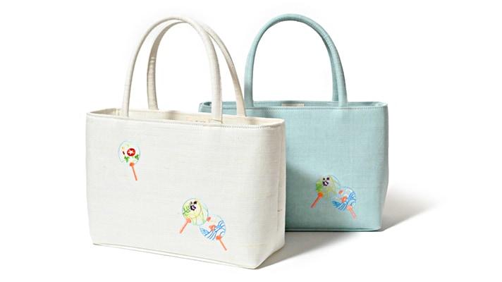 麻素材 夏のカジュアル和装バッグ 雅バッグ「金魚柄」麻素材 浴衣用バッグ