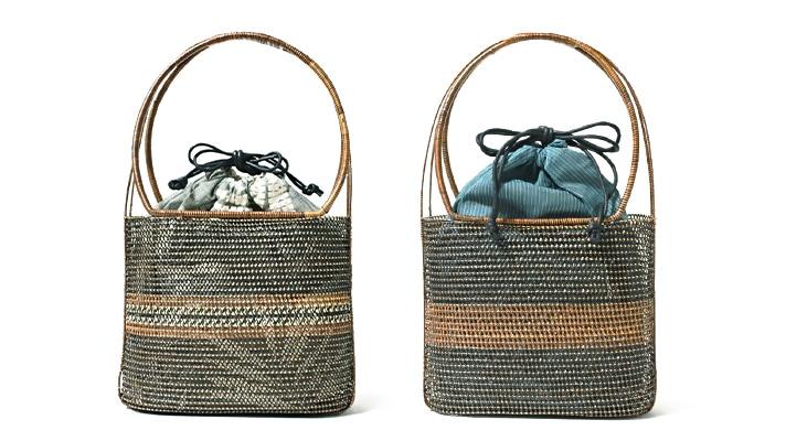 タイ製 かご巾着バッグ 縦長 浴衣用篭バッグ・カゴバッグ