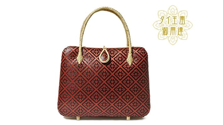 タイ製 竹細工 ハンドバッグ 赤
