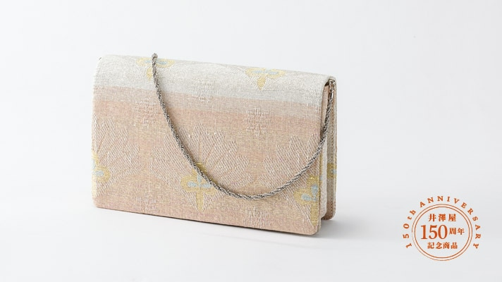和装バッグ・パーティーバッグ 2wayクラッチバッグ「針ねん金松笠並び文」ピンク色