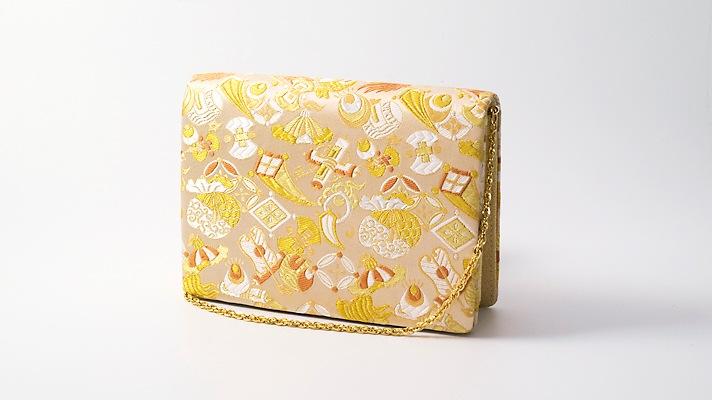 和装バッグ・パーティーバッグ 2wayクラッチバッグ「宝尽くし」金色 着物・振袖用ハンドバッグ 礼装用・フォーマルバッグ 井澤屋