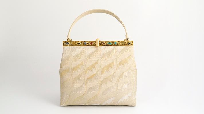 和装バッグ・天然石パーティーバッグ「白鳳蓮池文」 井澤屋 着物用ハンドバッグ