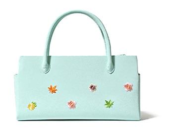 ふたばバッグ横長 「小花ちらし」 C. みずあさぎ
