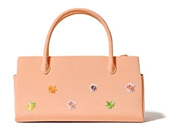 ふたばバッグ横長 「小花ちらし」 A. さんご色