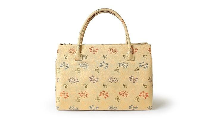 ふたばバッグ(カジュアル和装バッグ)「つる牡丹」正絹名物裂