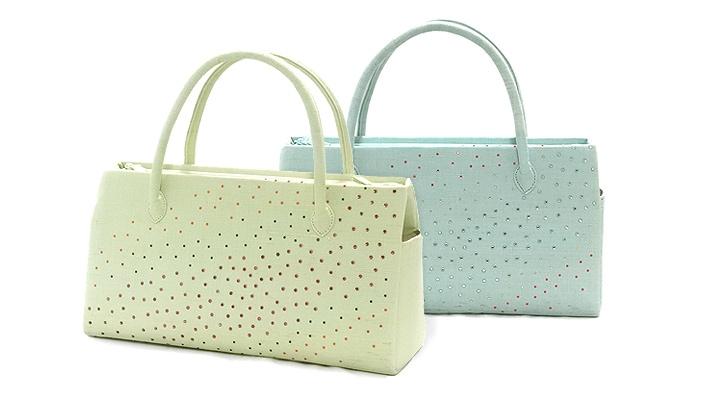 麻素材ふたばバッグ横長(カジュアル和装バッグ・夏向け)「ラインストーン」