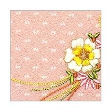 ちりめん刺繍ポーチ「花くす玉」(大・中・小) A. ピンク