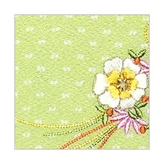 ちりめん刺繍ポーチ「花くす玉」(大・中・小) C. きみどり