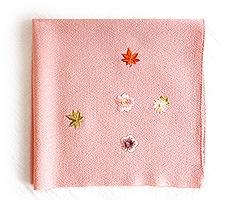 ちりめん刺繍 小風呂敷「小花ちらし」 A.さくら色