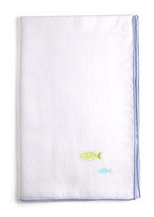 京和晒綿紗 ベビーガーゼ 手拭い G. ブルー + さかな(グリーン)