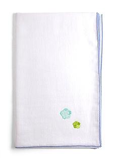 京和晒綿紗 ベビーガーゼ 手拭い D. ブルー + おはな(ブルー)