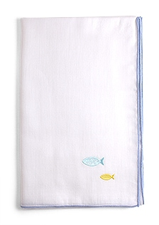 京和晒綿紗 ベビーガーゼ 手拭い F. ブルー + さかな(ブルー)